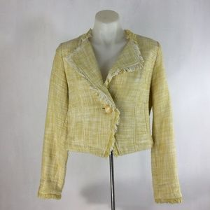CAbi Jacket Cotton Tweed Fringe Boucle Crop Blazer